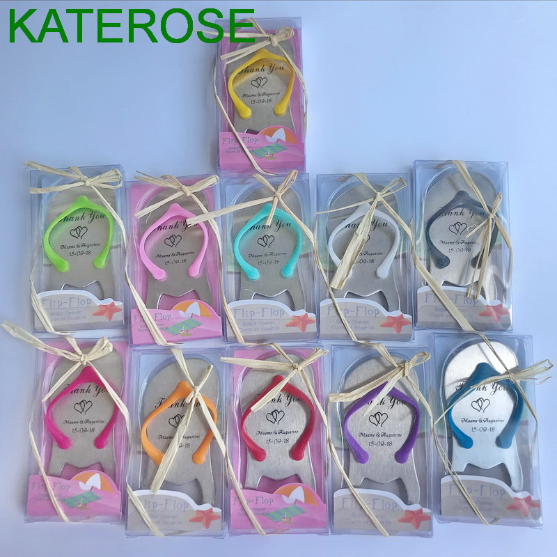 Personalized Beach Wedding Gifts: 70PCS Customizable Colorful Flip Flop Bottle Opener In