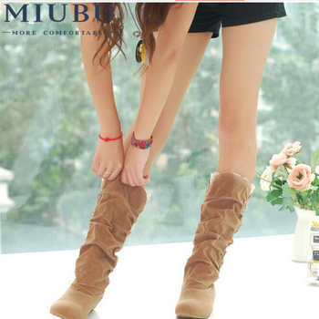 MIUBU New Fashion Spring Autumn Casual Shoes Princess Sweet Women Boot Stylish Flat Flock Mid-calf Boots
