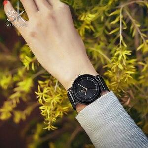 Image 3 - Sk relógios de couro moda simples relógios de quartzo para reloj mujer senhoras relógio de pulso shengke relogio feminino