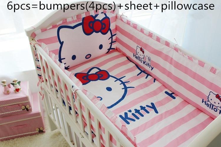 2017! 6PCS Cartoon Cotton Baby Bedding Set Reactive Printing Baby Crib Bedding Set (bumpers+sheet+pillow cover)