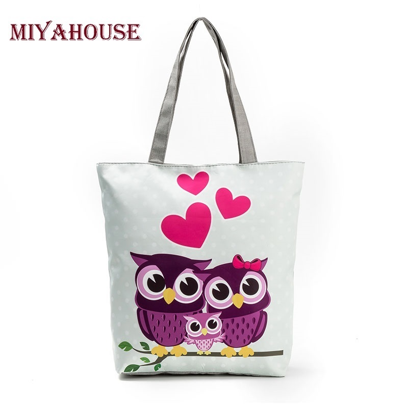 Miyahouse Cute Owl Printed Beach Bag Female Floral Canvas Casual Tote Ladies Shopping Bags Daily Use Single Shoulder Bag Bolsa floral printed canvas tote female single shopping bags large capacity women canvas beach bags casual tote feminina