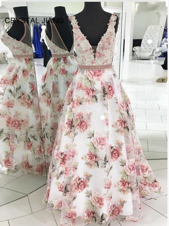 New Arrival 2019 Formal <font><b>Dresses</b></font> Long V Neck Lace Applique Beaded Custom made A Line Floor Length <font><b>Sexy</b></font> Back Floral <font><b>Prom</b></font> <font><b>Dresses</b></font> image