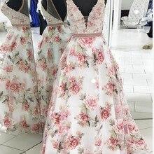 New Arrival 2019 Formal Dresses Long V Neck Lace Applique Beaded Custom made A L