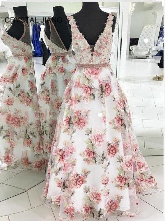>New Arrival 2019 Formal <font><b>Dresses</b></font> Long V Neck Lace Applique <font><b>Beaded</b></font> Custom made A Line Floor Length Sexy Back Floral <font><b>Prom</b></font> <font><b>Dresses</b></font>