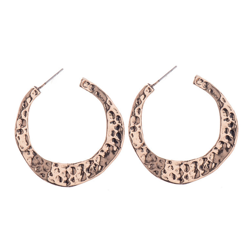 Big Round Circle Ethnic Earrings For Women Gold Silver Color Vintage Open Hoop-Earrings Geometric Costume Jewelery New Design