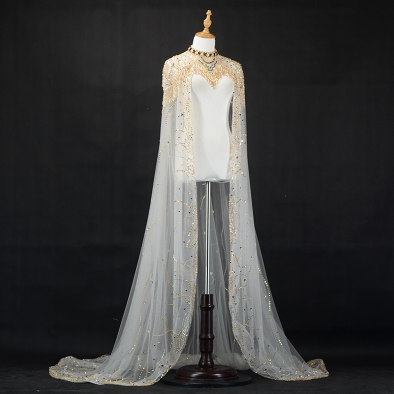 436d1744e0 Aliexpress.com : Buy Sparkly Beaded Wedding Wrap Tassel Gorgeous Long  Bridal Cape African Women Special Event Shawl ZJ012 from Reliable Wedding  ...