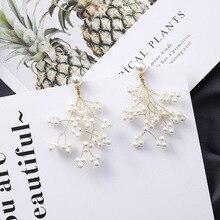 Minimalist Golden Long Branch Pearl Pendant Earrings Lady Chic Flower Pearl Flower Drop Snowflake Shape Earrings Accessories