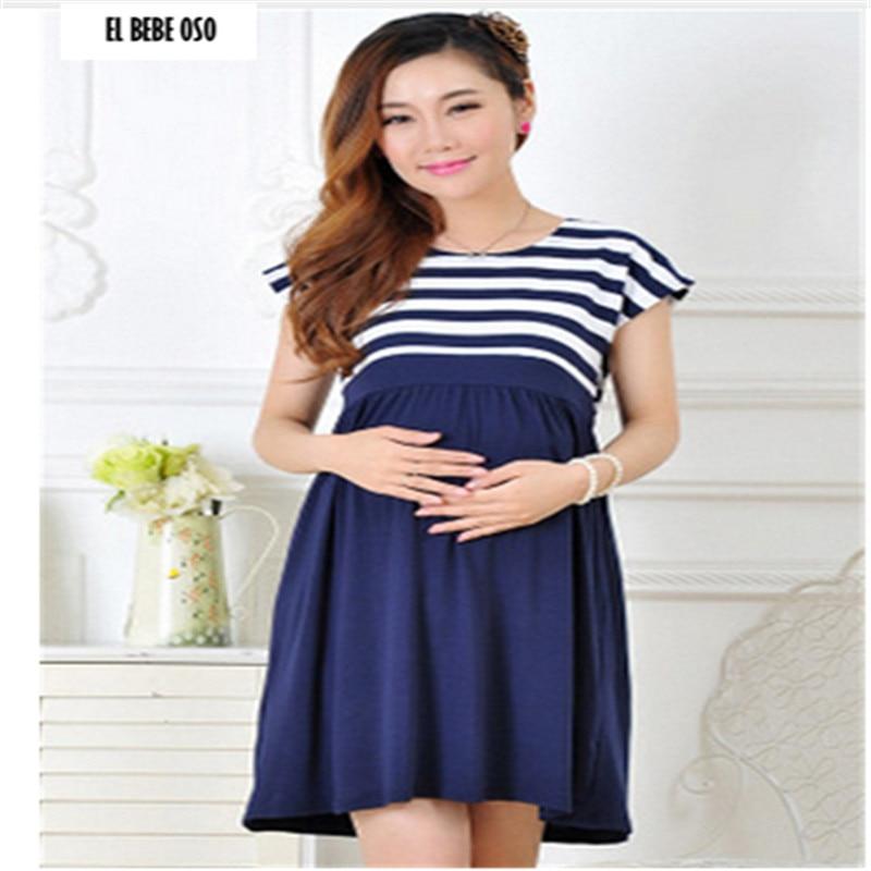 EL BEBE OSO Stripe Short Sleeve Dresses for Pregnant Women Comfort Breastfeeding Dress Maternity Fashion Nursing Clothes Mother