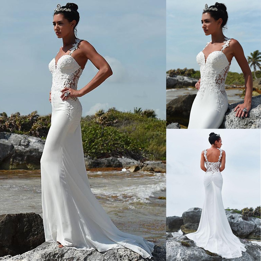 Glamorous Sweetheart Neckline Mermaid Wedding Dress With Beaded Lace Appliques Spaghetti Straps Beach Bridal Dress