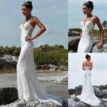 Роскошное Свадебное платье с вырезом сердечком и юбкой годе с кружевной аппликацией из бисера пляжное свадебное платье на бретелях