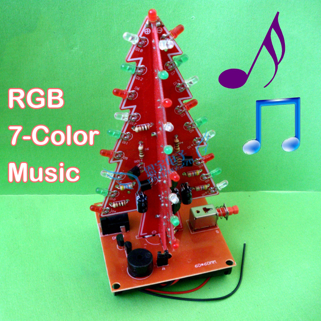 With Music Three Dimensional 3D Christmas Tree LED DIY Kit Red/Green/Yellow