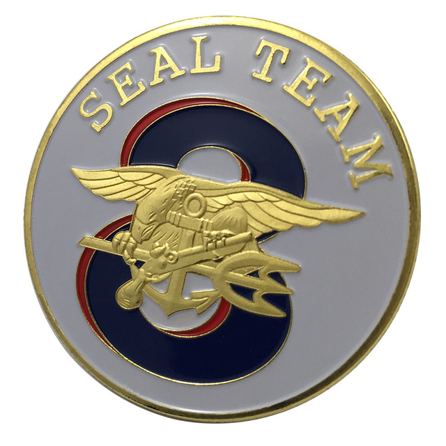 New Us Navy Seal Team Eight Gold Plated Challenge Coin Badgemedal