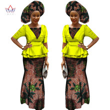 Aafrika kleidid naistele poolvarrukad topid + Maxi kleit poolkleidid Bazin Riche Ankara moe Aafrika riided 6XL BRW WY1186
