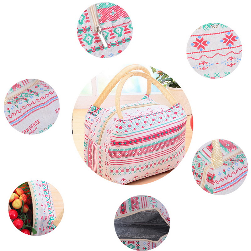 Adisputent Travel-Luggage Handbag Waterproof Portable Zipper Geometric-Pattern Lunch-Outside