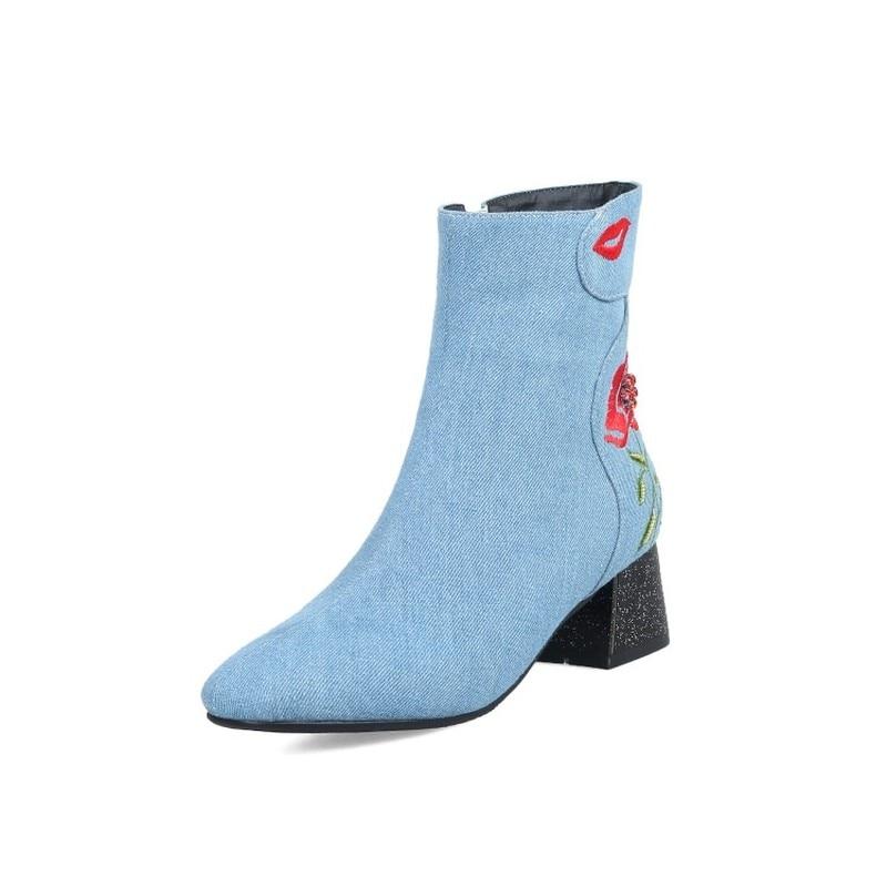 Bleu Med Bottes Noir Denim blue Hiver Épais Ciel Bout Cheville Black Zip Femme Blue Carré sky Fleur Talon Femmes Chaussures Chaussettes 2018 De 8wadqUU
