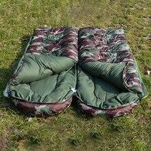 Открытый Взрослый хлопковый спальный мешок для кемпинга, стильный Камуфляжный теплый водонепроницаемый спальный мешок с капюшоном для путешествий