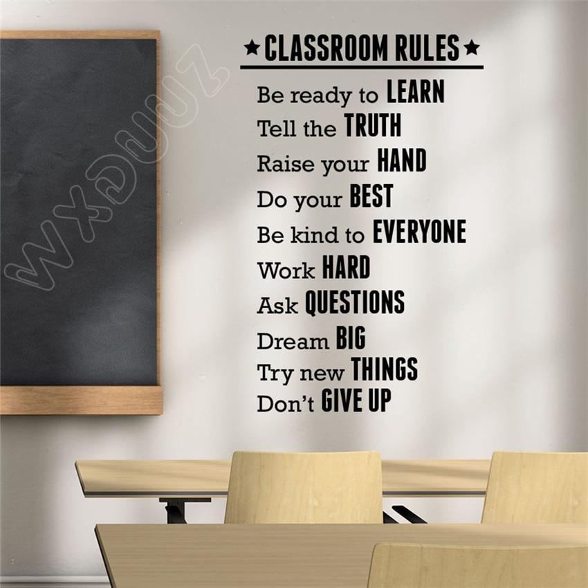 WXDUUZ Classroom Rules Wall Decal Education Sticker Inspirational Vinyl Art Decor Wall Sticker Bedroom Home Decor Poster B70