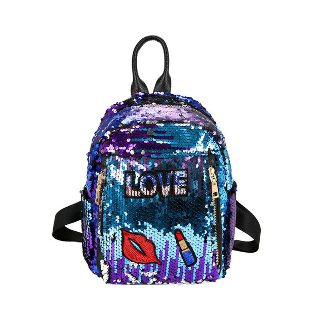 ee032e1cab NEW Lipstick badge Women backpack small Casual Sequins Backpack Girls  Travel shoulder bag Princess Bling Backpacks