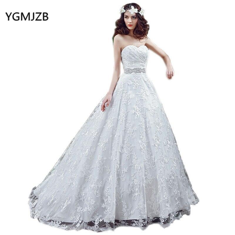 Lace Wedding Dresses 2018 Ball Gowm Sweetheart Beaded Belt