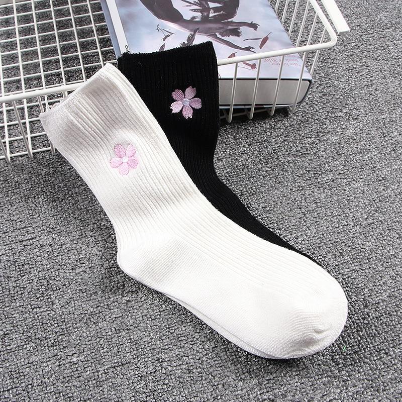 Cotton Socks Women Janpanese School Uniform Socks 2018 Autumn Winter New Hot Fashion Lovely Cherry Comfortable Breathable Sock