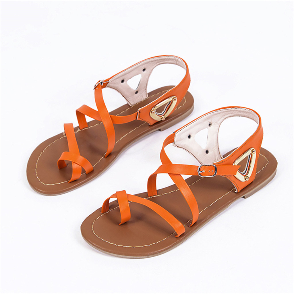Luxury Womens Flat Shoes Cover Shallow Women Ladies Summer Casual Big Size Flat Beach Sandals Roman Shoes Buckle Strap GladiatorLuxury Womens Flat Shoes Cover Shallow Women Ladies Summer Casual Big Size Flat Beach Sandals Roman Shoes Buckle Strap Gladiator