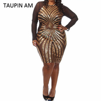Plus Size Gold Sequin Dress Black Long Sleeve Mesh Club Party Bodycon Dress Mini Big Sizes