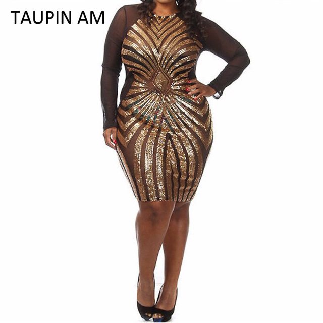 TAUPIN AM Plus size gold sequin dress black long sleeve mesh club ...