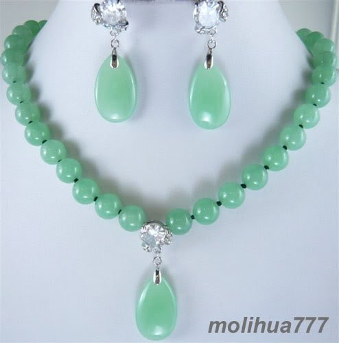 Natural Light Green Jade Bead Pendant Necklace Earrings
