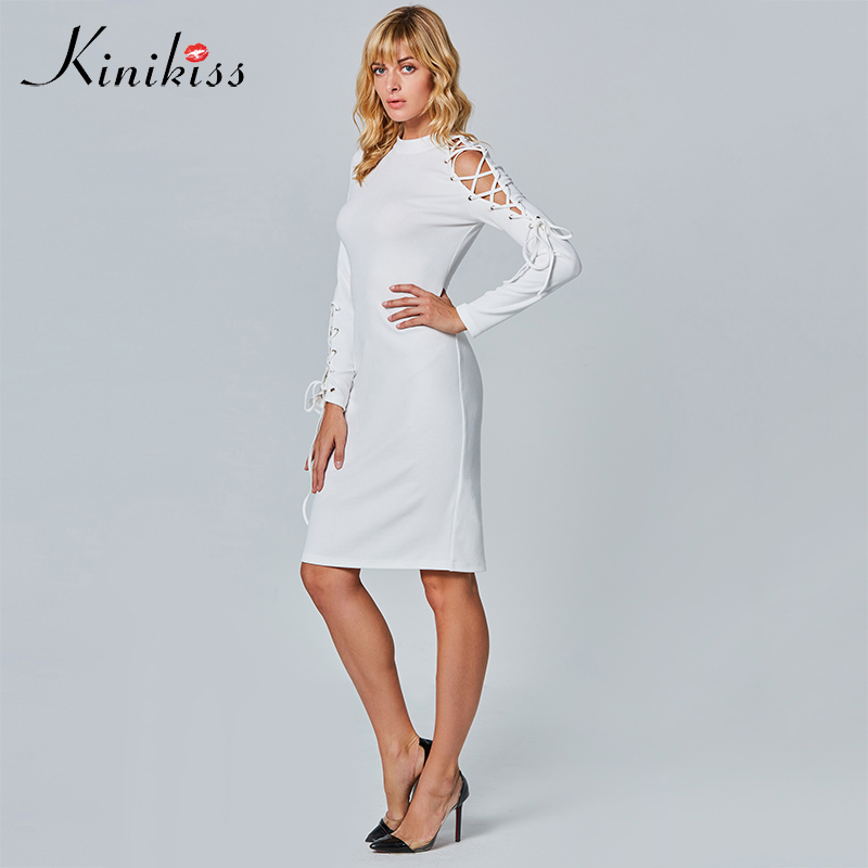 Kinikiss Women Stand Collar Bodycon Dress 2017 Autumn Long Sleeve Lace Up Hollow Out Bandage Dress White Sexy Knitted Dresses sexy stand collar floral print short sleeve bodycon dress for women