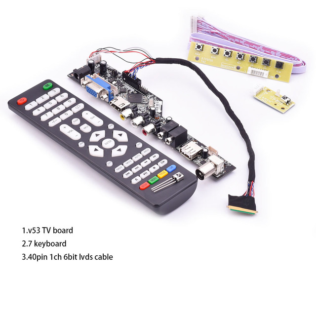 V53 universal TV lcd control board 10 42inch lvds driver board TV VGA AV HDMI USB DS.V53RL.BK full kit for LTN156AT01 A01