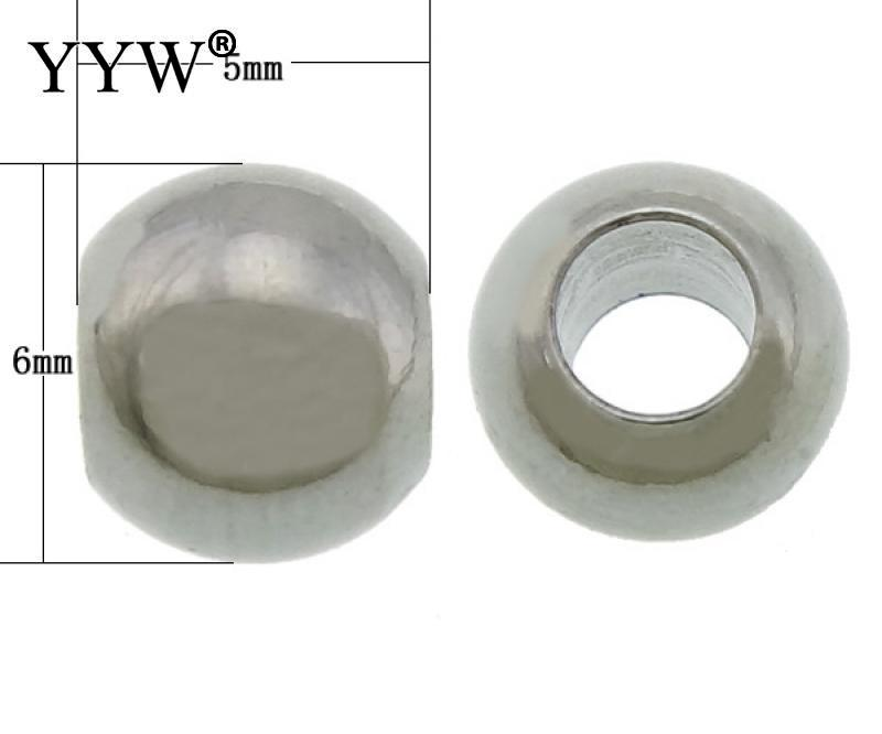 500PCs/Lot 304 Stainless Steel Drum original color 5x6mm Hole:Approx 3mm Stainless Steel Large Hole Beads freeshipping 500pcs lot attiny44 attiny44a attiny44a ssu atmel agent sop14 new original 100