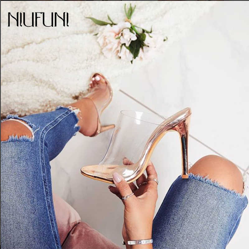 Women's Clear Peep Toe Thin High Heels Mules Gold Slip On Slide Sandals Transparent Dress Sandals Stiletto Shoes Women Outside