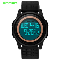 Top Fashion Brand Sanda Ultra Thin Digital Watch Men Electronic Watches Sport Rubber Band Military Wristwatch