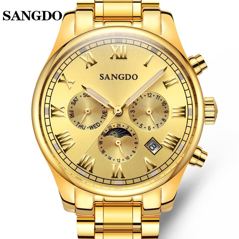 Luxury SANGDO watch men Luminous Stainless steel Automatic mechanical Sapphire waterproof calendar wristwatch relogio masculine микроволновая печь sharp r 2000rw 800 вт белый чёрный