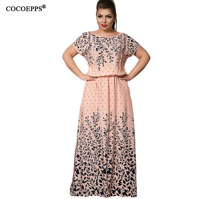 COCOEPPS 2017 Summer Women L-6XL Chiffon Print Long Dress Short Sleeve Casual Floor-Length Large Big Size Maxi Dresses vestidos