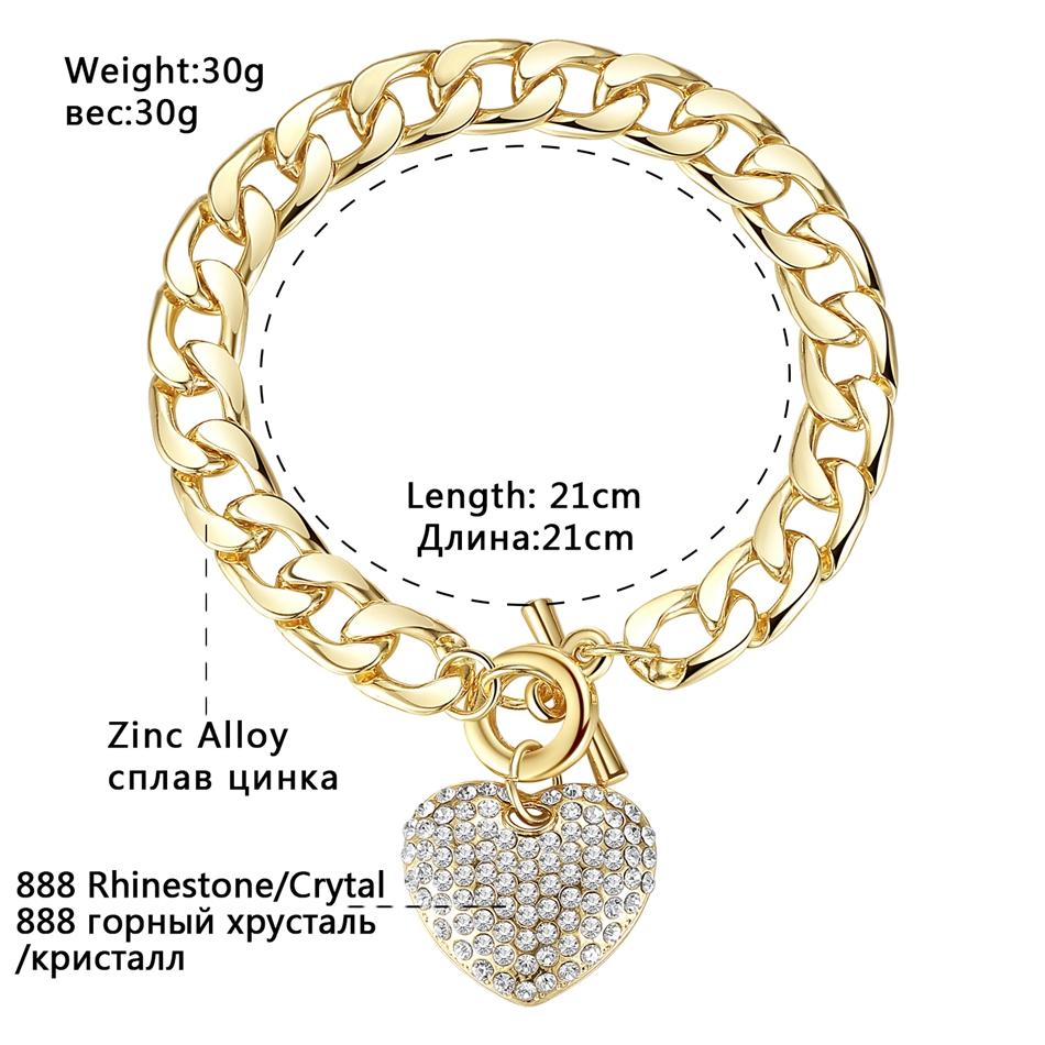 Minmin Lovely Silver/Gold-Color Strand Bracelets for Women Heart Crystal Pendant Chain Bracelets & Bangles Fashion Jewelry SL063 3