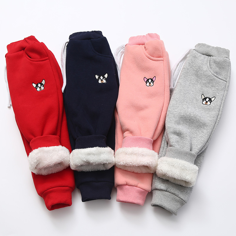 Funfeliz 2018 Winter Kids Pants Plus Thick Fleece Pants for Boys Velvet Sports Children Girl Trousers Girls Warm Leggings