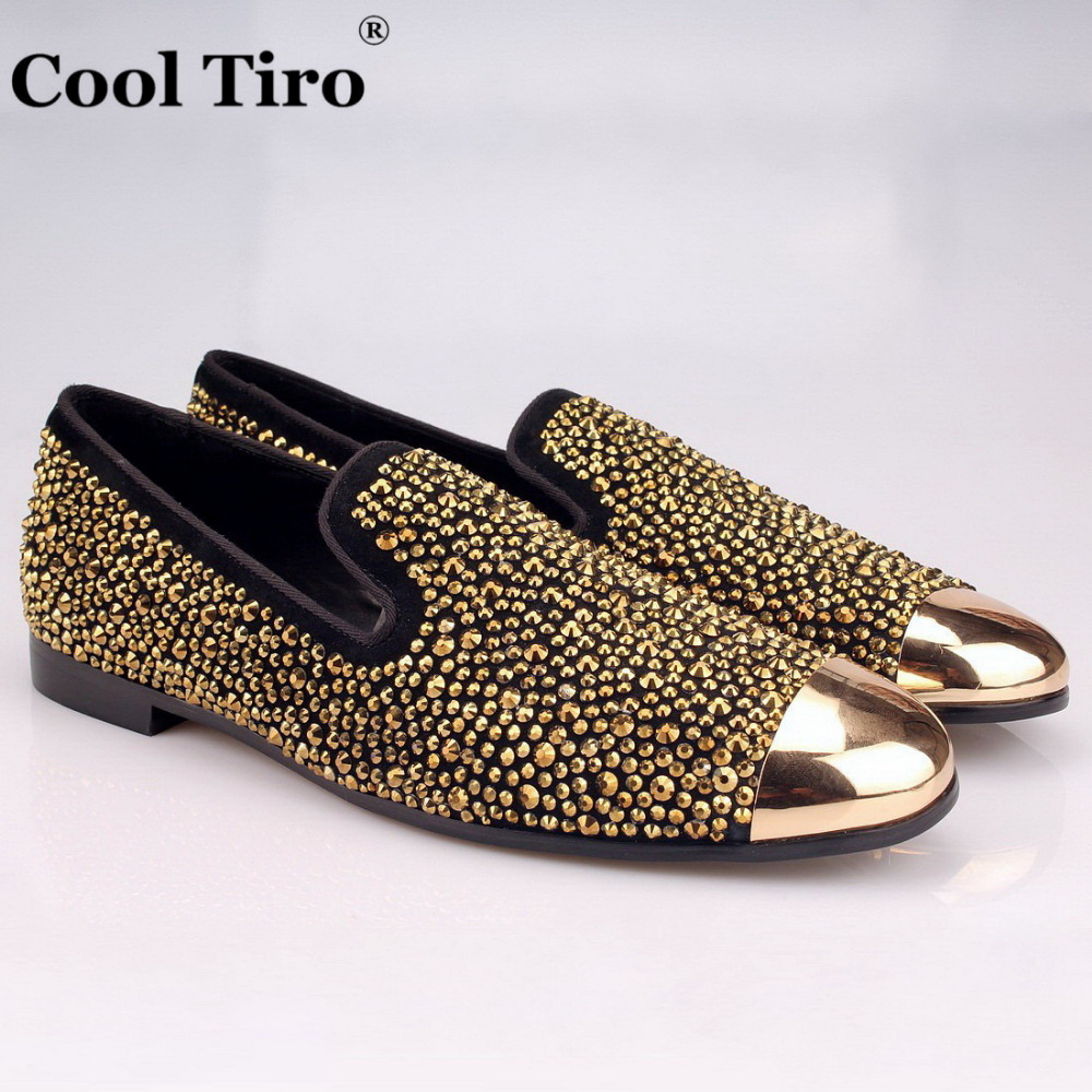COOL TIRO Gold toe Brilliant Gold Handcrafted hot drilling smoking slipper Genuine  Leather Loafers Diamonds Wedding 5a1f4ab89ddc
