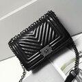 2016 Fashion Women's PU Leather Handbags Famous Brands Designer Satchel Bags Ladies Flap Purses Messenger Bags V-pattern Stripe