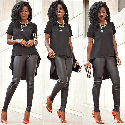 Plus Size women summer shirt Fashion Womens Loose Chiffon Tops Short Sleeve shirts Casual Blouse 2