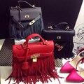 2016 bolso de la borla para las mujeres rojo crossbody bolso de las señoras bolso con borlas de Moda marca PU leahter bolsa de hombro bolsos femeninos