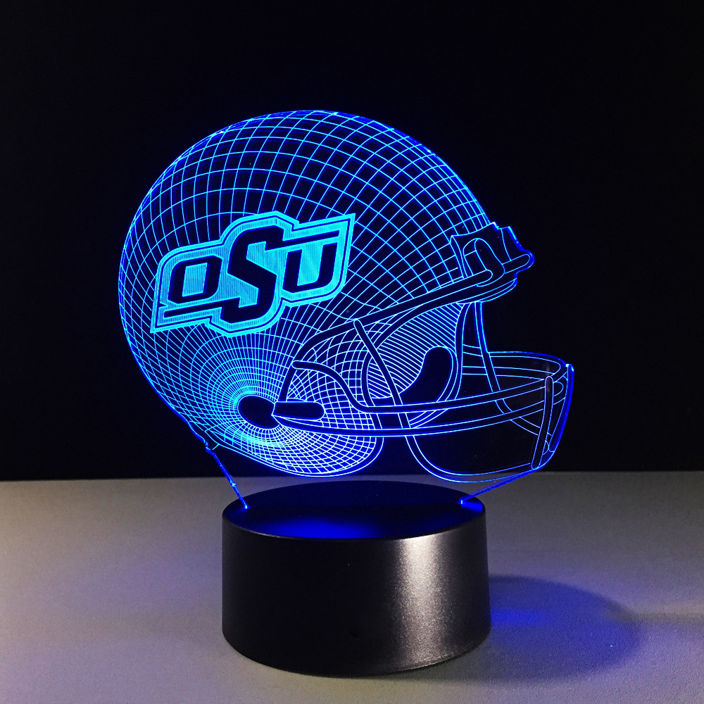 Football Helmet 3D Table Lamp Atmosphere Christmas Gifts Boys & Girls Bedroom LED Rugby Cap Night Light Decor Sleeping Lighting