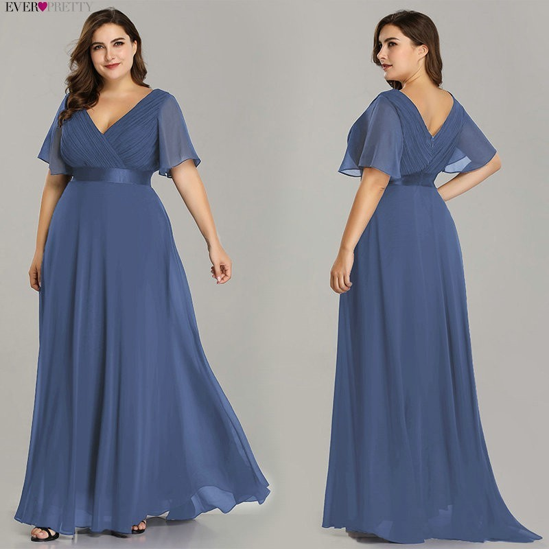 Plus Size Pink   Prom     Dresses   Long Ever Pretty V-Neck Chiffon A-line Robe De Soiree 2019 Navy Blue Formal Party Gowns for Women