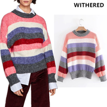 Withered BTS sweaters women high street colorful striped cute oversize woman sweater pullovers long sleeve kintted women tops