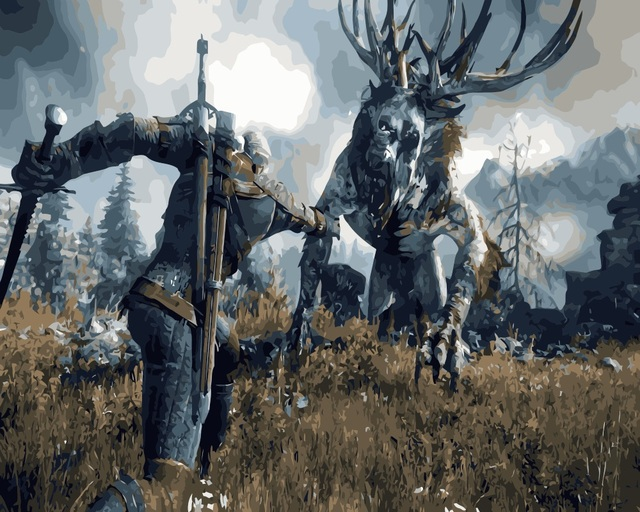 MaHuaf-i458 the Witcher 3 DIY painting by numbers hand painted coloring by numbers on canvas Game Wall Pictures for Living Room
