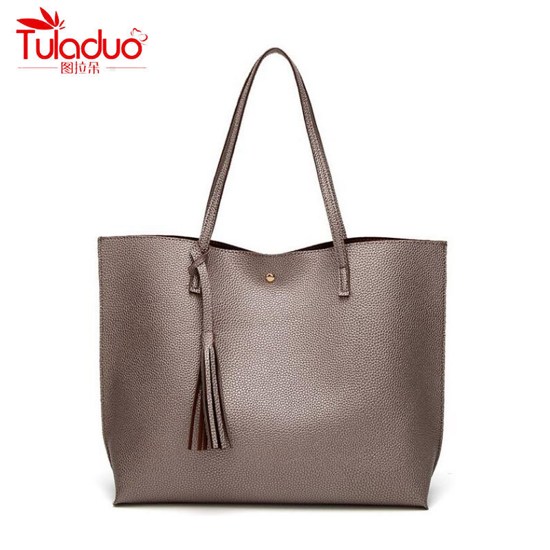2017 Fashion Tassel Women Handbags Large Capacity Women's Shoulder Bag Casual Tote High Quality PU Leather Ladies Top-handle Bag fashion women handbags with two straps high quality pu leather top handle tote bag female large capacity shoulder messenger bags