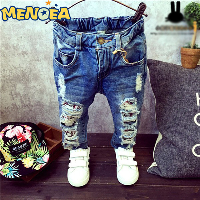 2017  Brand New Fashion Autumn Baby Boys Girls Jeans Children Broken Hole Pants Trousers 2-7Yrs Kids Trousers Children Clothing