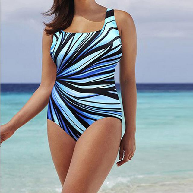 Women's  Stripe Printing One Piece Swimsuit