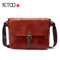 AETOO 2017 top cow genuine leather versatile casual shoulder men messenger bags for men soild and zipper
