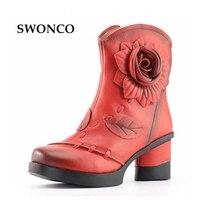 Frauen 2017 Herbst Winter Fashion Echtes Leder Handgefertigten Retro Schuhe Weibliche Kurze Stiefel Komfortable 7 cm High Heel Schuhe